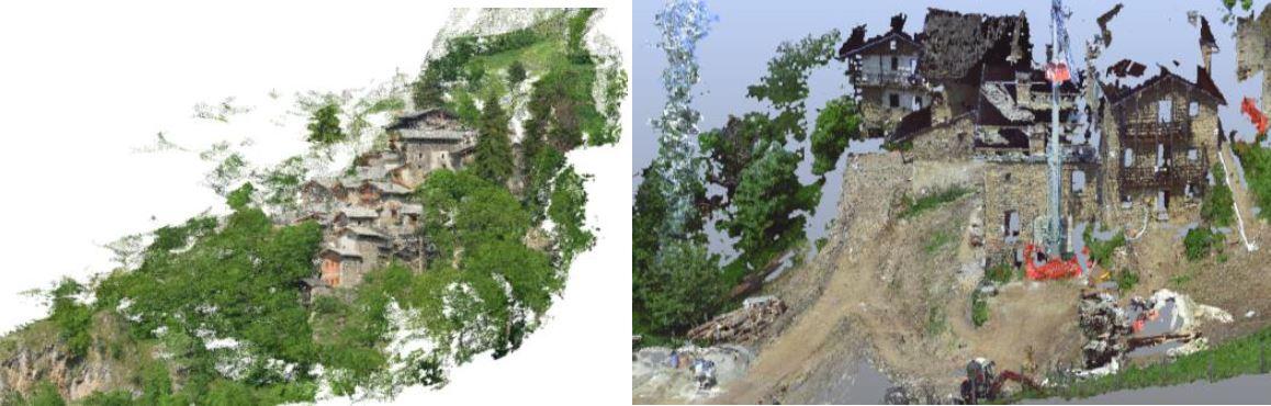 Fig. 15. Alcune elaborazioni dei dati derivati da scansioni terrestri sulle borgate di Valliera e Campofei