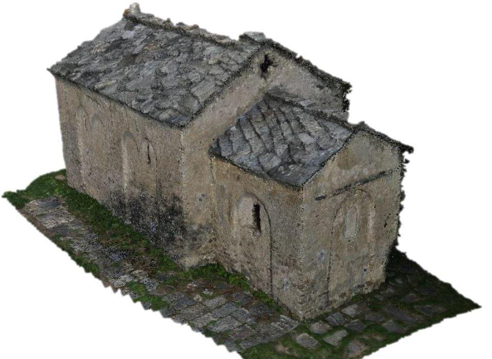 Fig.17. Prodotto dell'integrazione tra dati acquisiti con tecnica fotogrammetrica aerea e terrestre: nuvola di punti densa 3D relativa alla cappella di Santa Maria.